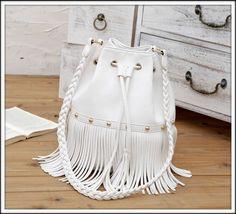 WHITE boho FRINGE BUCKET BAG handbag TASSEL hobo CROSSBODY shoulder LEATHER look