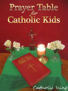 How to put together and use a portable prayer table with Catholic kids.