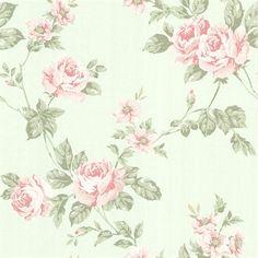 Bloom Mint Floral Trail Wallpaper