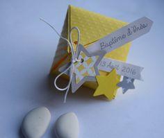 Boite à dragées étoiles jaune et gris - baptême, mariage, communion : Cadeau de remerciement par tresors-d-enfance