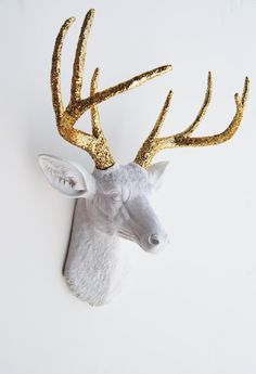 Items similar to Gift Ideas for Him Her & Couples - White Faux Taxidermy - The Winston - White W/ Gold Glitter Antlers Resin Deer Head on Etsy