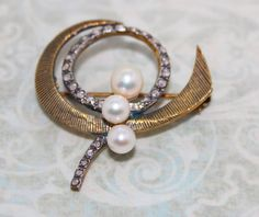 Vintage Modernist Sterling Silver 14K Gold Cultured Pearl Marcasite Pin Brooch-Artisan Estate Jewelry (89.99 USD) by PussnbeadsJewelry