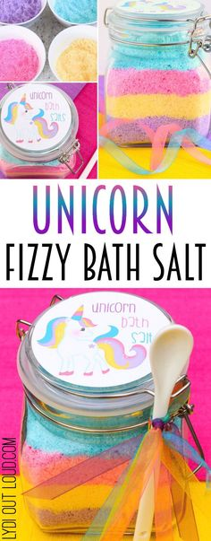 Unicorn Fizzy Bath Salts - these are so cute! Perfect for diy spa night or even a spa themed birthday party for a special girl in your life. #spaday #diyspa #unicorn #partyideas #diy @lydioutloud