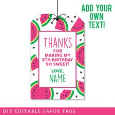 Paper goods and DIY printables for parties and holidays Watermelon Slices, Favor Tags, 5th Birthday, Sweet 16, Crushes, Favors, Thankful, Mini, Party