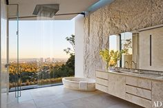 Open Concept Bathroom Open-concept Vanities Shower For A Small . hotels open-concept bathroom homes. Architectural Digest, Michael Bay, Minimalist Room, Minimalist Bathroom, Los Angeles Homes, Celebrity Houses, California Homes, Hollywood California, Beautiful Bathrooms