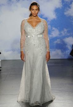 Embellished Silver Wedding Dress with Illusion Sleeves | Jenny Packham| Reem Acra Bridal Spring 2015 | See More! http://heyweddinglady.com/bridal-market-2015-three-fab-wedding-dress-trends/