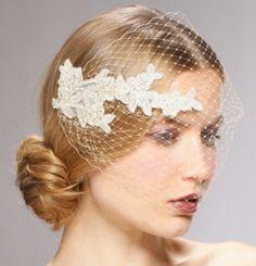 Beautiful Petite Pearl Beaded Bird Cage Bridal Veil