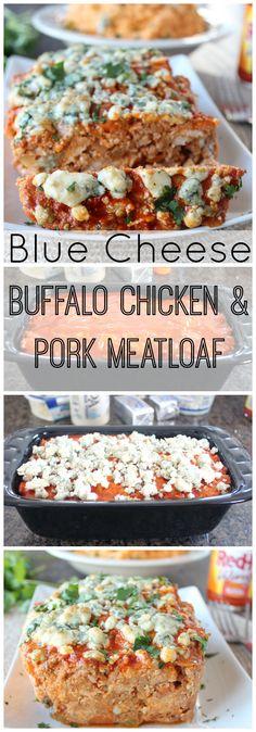 Blue Cheese Buffalo Chicken & Pork Meatloaf Recipe #BuffaloSauce #Recipe
