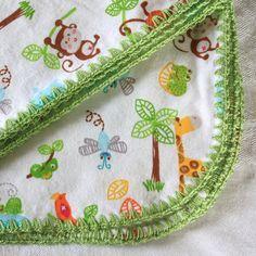 Pattern: Flannel Receiving Blanket with Crochet Edging