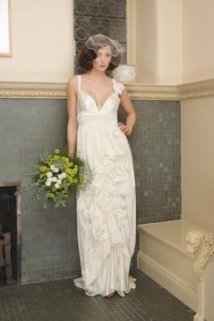 This is a bamboo and organic cotton jersey gown from the Natural Bridal Collection - just lovely, and no need to iron it!