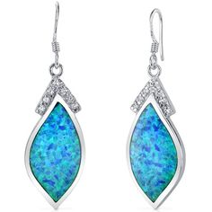 Marquise Shape Firey Blue Opal Dangle Earrings in Sterling Silver with Rhodium Finish