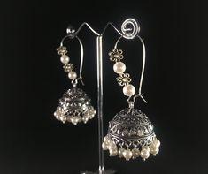 Silver Jhumkas, Marcasite Jewelry, Oxidised Jewellery, Silver Earrings, Silver Jewelry, Silver Choker, Indian Earrings, Indian Jewelry, Jewelry Design Earrings