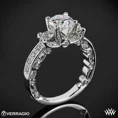 PIN it to WIN it! Verragio Bead-Set 3 Stone Engagement Ring from the Verragio Paradiso Collection.