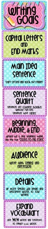 great resource!!!  Writing Goals - clip chart display
