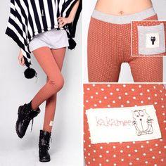 Pure cotton elastic polka dots leggings - US$ 13.74
