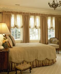 Love these sheer balloon shades...traditional bedroom by Robin Baron