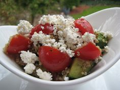 Tomato and Cucumber Salad with Quinoa Cucumber Salad, Cobb Salad, Quinoa Salad, Acai Bowl, Salads, Breakfast, Healthy, Food, Meal