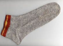 Jorvik Sock - Naalbinding. Woollen Footwraps were found in Norway, but entirely fine to do without.