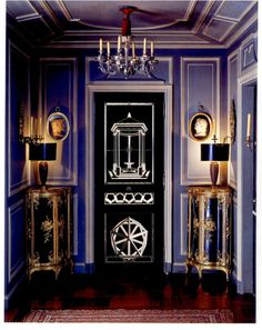 Arresting Parisian foyer in deep periwinkle by Pierre Delbee of the famed JANSEN firm circa the 1960s.