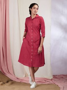 Buy Red Cotton Shirt Dress online at Theloom Frock Patterns, Kurti Patterns, Skirt Fashion, Fashion Dresses, Women's Fashion, Fashion Trends, Casual Dresses, Short Dresses, Shirt Dress Pattern