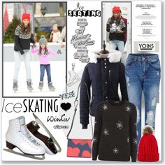 A fashion look from December 2015 by sweetsely featuring Dorothy Perkins, Victoria Beckham, ChristmasSweaters, rippedboyfriendjeans, pompomhats, iceskatingstyle...