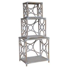 Joss & Main Set of three stackable rattan shelves with open lattice sides.  Product: Small, medium and large stacking shelvesCon...