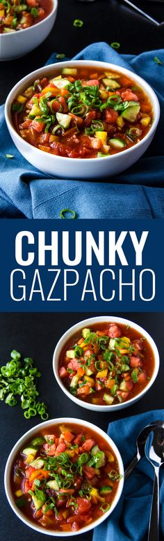 Chunky Gazpacho - A super healthy simple dish that's full of fresh tomatoes, bell peppers, cucumbers and green onions. (Vegan & GF) | RECIPE at NomingthruLife.com