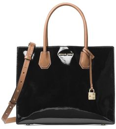 9a3a64873ce6 Michael Kors Studio Mercer Large Tote Patent Leather BLK WT 100 Authentic  for sale online | eBay