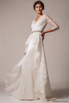 temperley london fall winter 2015 wedding dress bridal v neck lace three quarter sleeves a line gown with belt posey