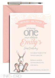 Some bunny 1st birthday invitation, Bunny birthday invitation, Easter theme - Pink Nerd Printables