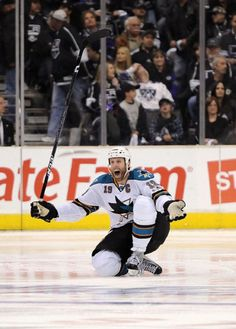 Joe Thornton of the San Jose Sharks celebrates after scoring the game winning goal against the Los Angeles Kings in game 6, April 25, 2011 in Los Angeles