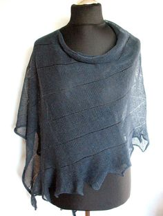 Linen Shawl Cape Clothing Dark Gray Stripes Striped / Clothing For Women