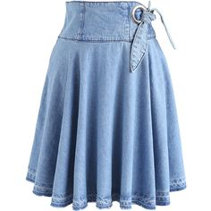 Chicwish Lively Denim Skater Skirt ($37) ❤ liked on Polyvore featuring skirts, blue, skater skirt, knee length denim skirt, flared skirt, blue flared skirt and chicwish skirts