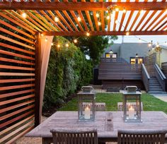 It is unique idea to cover the whole empty space in your house with unique and fantastic pergola design. You can make ground under pergola and erect the posts… Privacy Fence Designs, Fence Design, Modern Patio, Patio Design, Pergola Lighting, Modern Front Yard, Modern Pergola Designs, Wood Patio