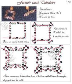 This is not found on the site link, but the pin pic seems to include enough instructions (in French). Beading Patterns Free, Beaded Jewelry Patterns, Beading Tutorials, Bracelet Patterns, Beading Techniques, Seed Bead Jewelry, Loom Beading, Bead Art, Bead Weaving