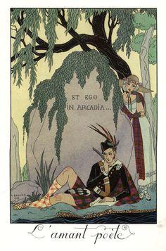 """illustration : Georges Barbier, """"l'amant poète"""", Ecosse, tartan"""