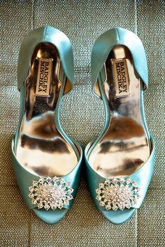 Teal @badgleymischka #weddingshoes   Hopkins Studios   Brides.com