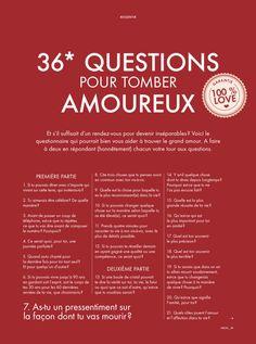 Les 36* questions pour tomber amoureux