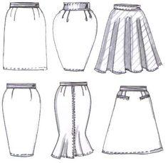 Modelos de saia: reta, tulipa, godê, lápis, enviesada e evasê.