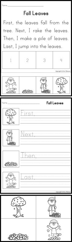 Students will sequence using the words first, next, then, and last. Includes stories and writing prompts. This story is perfect for fall!