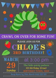 Personalised chalkboard chalk board very hungry caterpillar birthday invites