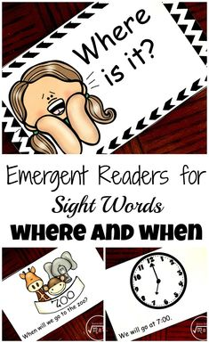 Grab your free sight word emergent readers for when and where. There is a book for the sight word when and the sight word where.