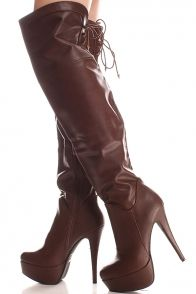 BROWN FAUX LEATHER OVER THE KNEE PLATFORM BOOTS