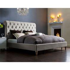 TOV Furniture TOV-B21-Queen Putnam Queen Bed in Light Grey Tufted Velvet Reclaimed Wood Legs