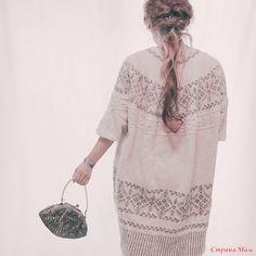 Жаккардовый пуловер оверсайз спицами без швов с описанием и схемой от Junko Okamoto - Вязание спицами - Страна Мам