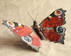 9 Holly Blue Butterfly Recycled Welded Scrap by GreenHandSculpture