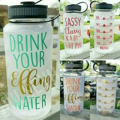 AQUA Drink Your Effing Water Inspirational by HulseyHandmade