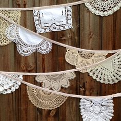 Vintage Doily Christening Bunting Garland by DaisiesBlueShop Bunting Flags, Bunting Garland, Buntings, Flag Signs, Doilies, Christening, Creative Design, Vintage Inspired, Fabric Banners