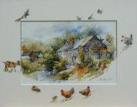 Village, chèvre, poule