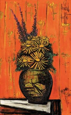 Bernard Buffet (French) Bouquet au vase chinois I, 1967 oil on canvas 131 x 82 cm x 32 in.) signed and dated upper right, Garnier Gallery stamp on the reverse Provenance: Wally Findlay Galleries,… - Matsart Auctioneers and Appraisers (Jerusalem) - Saint Tropez, Renoir, Buffet, Modern Art, Contemporary Art, Illustrator, Chaim Soutine, Art Brut, Plant Pictures